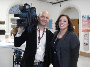Press Pg, Vilma Lora w Fabio and camera, 2012
