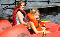 Abbey and Kelly in Kayaks
